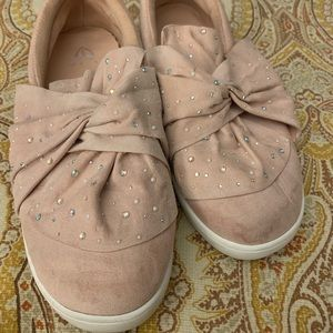 Girls Justice Rhinestone Knot slip on sneakers
